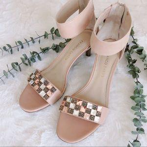 Jeweled sandal ankle strap heels